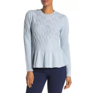 La Vie Rebecca Taylor Blue Cable Peplum Sweater